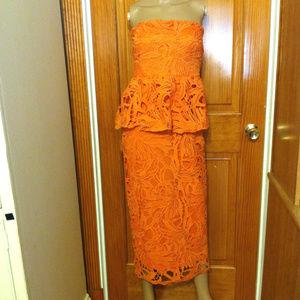 Boutique Jacinta Crochet Peplum Midi Dress